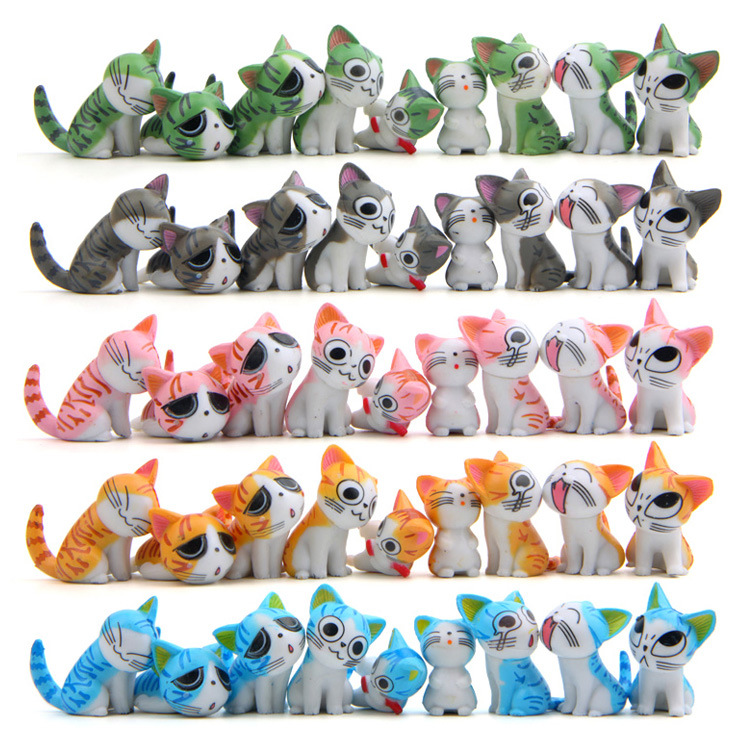 2017 9pcs mini Chi's Cute Cat Movie Anime Action Figure Plastic PVC Model Home Car Decoration Doll Christmas Gift Kids Toy Set pvc figure the simulation model toy decoration tr ibe doll ornaments 9pcs set