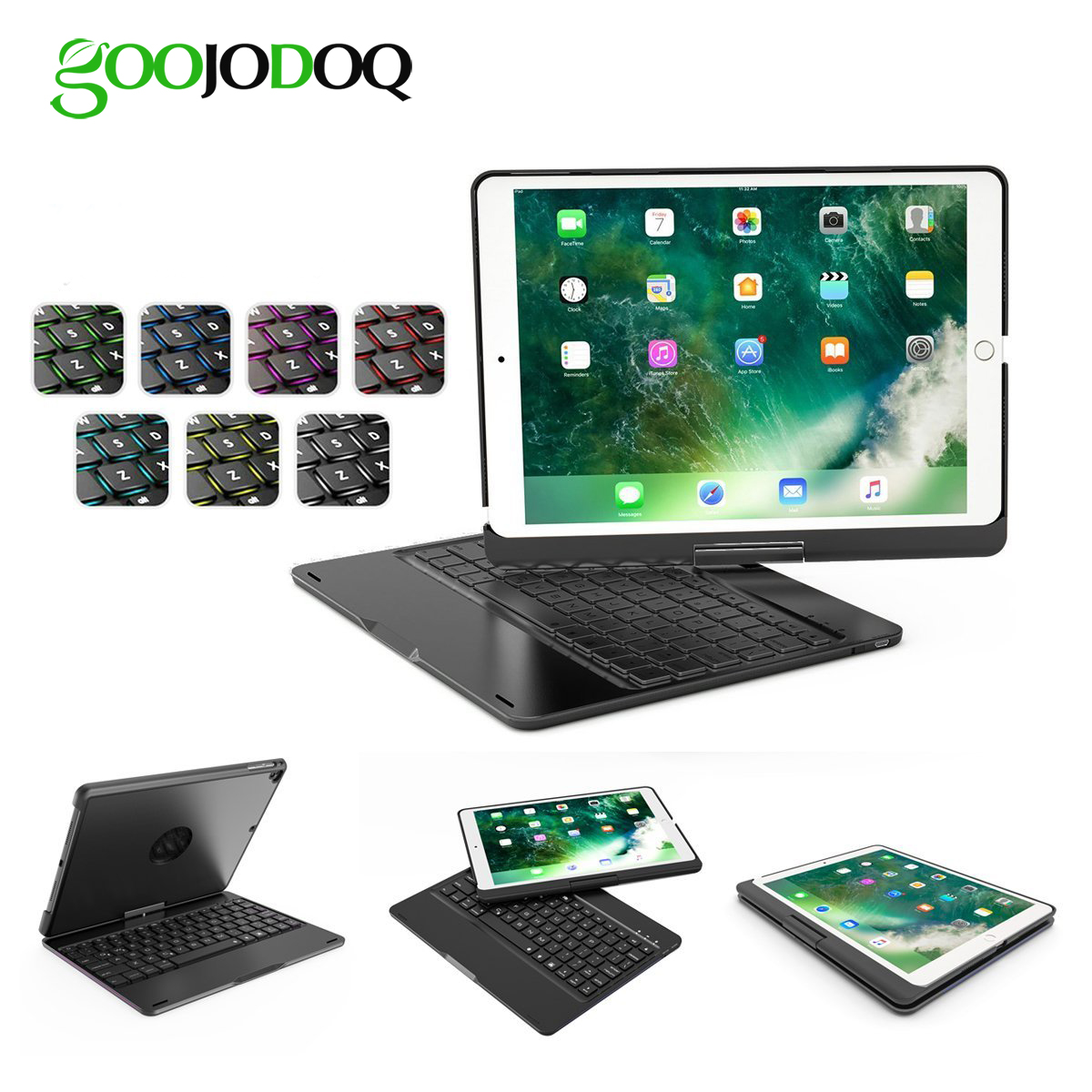 GOOJODOQ Backlit Wireless Bluetooth Keyboard Case for iPad 2018 9.7 2017 Pro 9.7 for iPad Air 2 / Air 1 Case Smart Folio Cover for ipad pro 12 9 keyboard case magnetic detachable wireless bluetooth keyboard cover folio pu leather case for ipad 12 9 cover