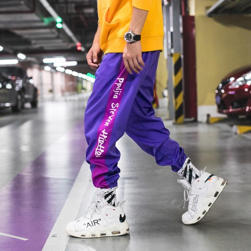 2019 New Spring Casual Trousers Men Skateboard Hip Hop High Street Drake Souls Harem Pants Men Purple Black Strip Pants Men