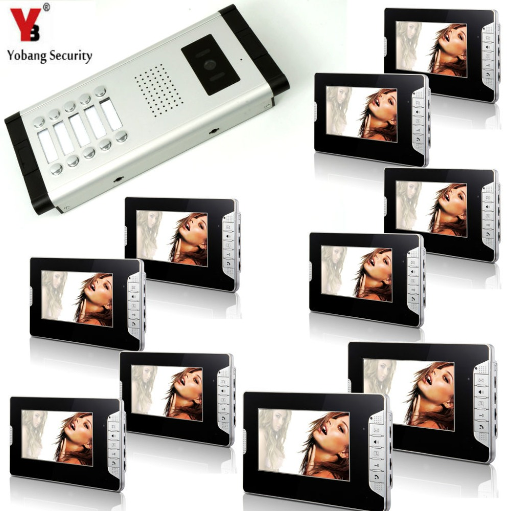 YobangSecurity 10 Units Apartment Intercom Wired 7Video Door Phone Video Door Entry System Intercom Doorbell Home Security Kit brand new apartment intercom entry system 2 monitors wired 7 color video door phone intercom system for 2 house free shipping