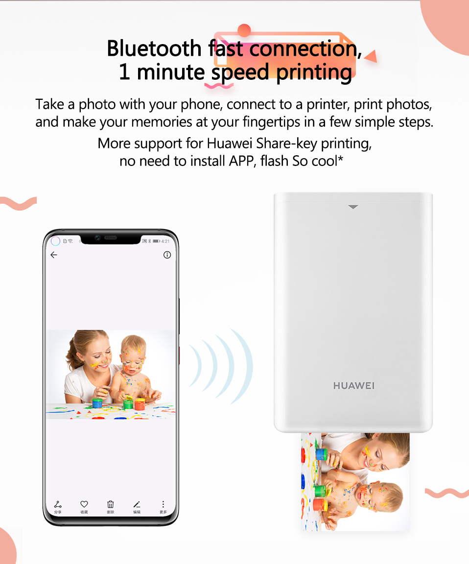 Original Huawei Zink Portable Photo Printer Honor Mini Pocket Printer Bluetooth 4.1 Support DIY Share 500mAh AR Printer 300dpi (1)