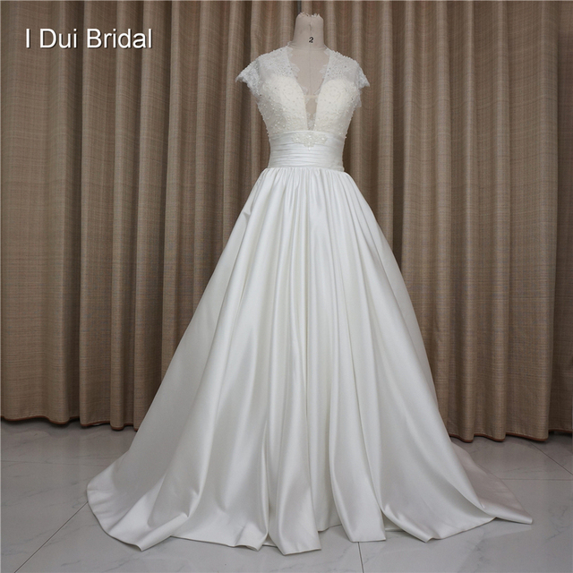 High Quality Satin Wedding Dresses With Lace Keyhole Back Short Cap Sleeve Big Volume Skirt Factory