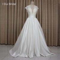 High Quality Satin Lace Wedding Dresses With Keyhole Back Short Cap Sleeve Big Volume Skirt Factory