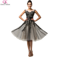 Grace Karin Short Prom Dresses 2016 Party Gowns Cap Sleeve Black Lace Mother Of The Bride