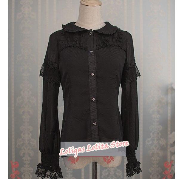 Chemise classique en mousseline à manches longues pour femmes Alice Wonderland Series Blouse Lolita à volants par sorcière aux fraises