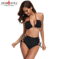 SEBOWEL 2018 Summer Black Brazilian Bikini Set Sexy Women High Waist Bandage Bikinis Swimwear Beachwear Mujer