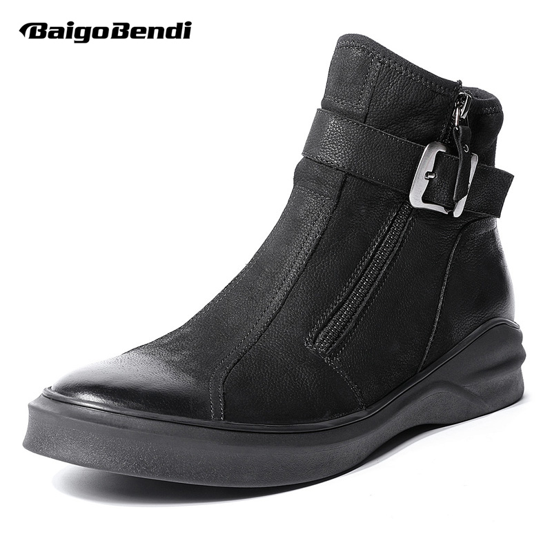 New Design Retro Winter Boots Men Full Grain Leather Buckle Belt Martin Boots Work Safety Soliders Ankle Boots Pure Black leaf design buckle belt