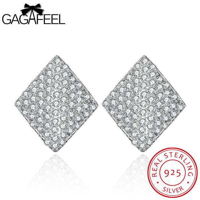 GAGAFEEL Wedding Rhombus Stud Earring For Women Sterling-Silver-Jewelry Earrings Push-Back Zircon Brincos For Evening Party