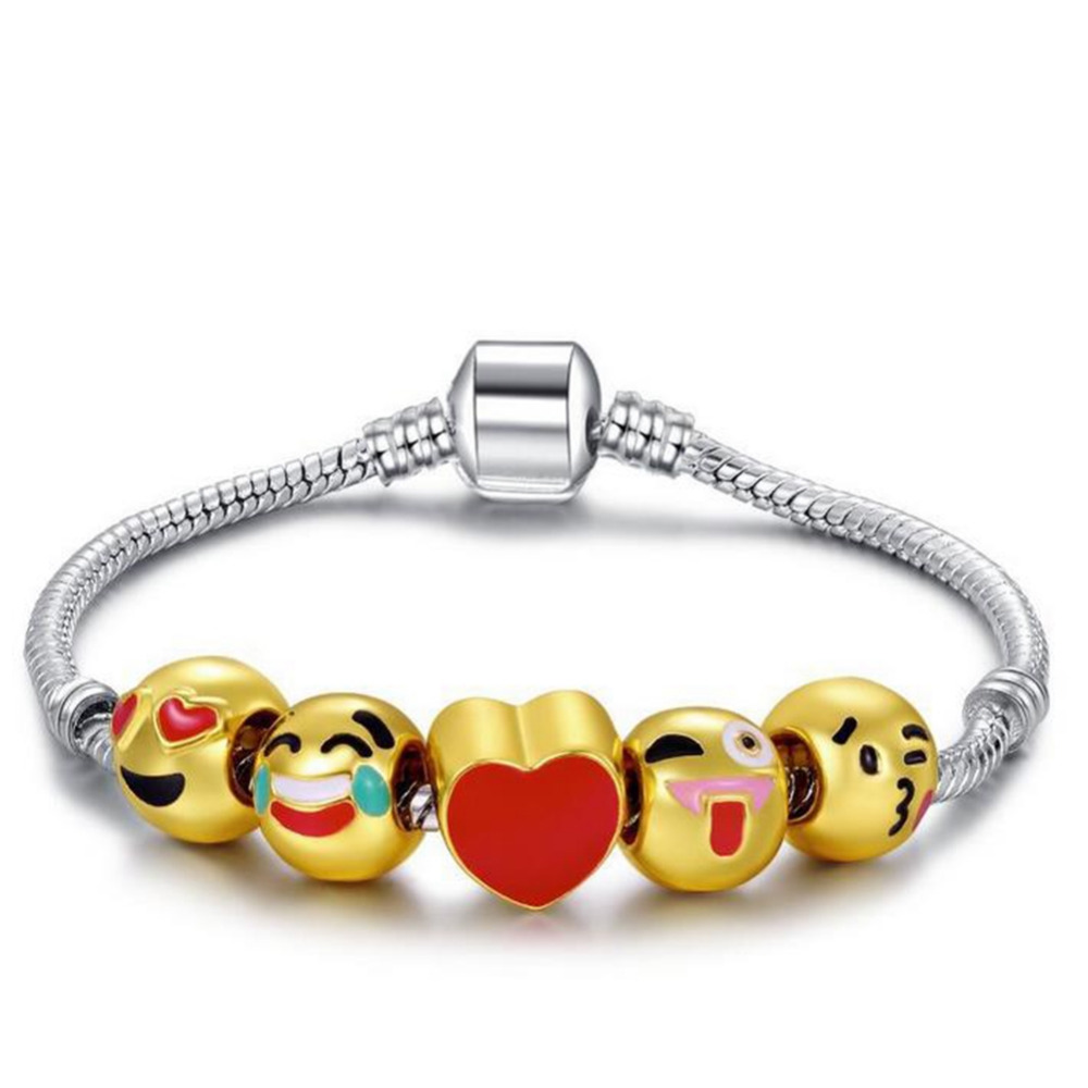 High Quality Christmas Gifts Gold Emoji Expression Beads Fits European Pan Charm Bracelets Pulseras DIY Men Jewellery