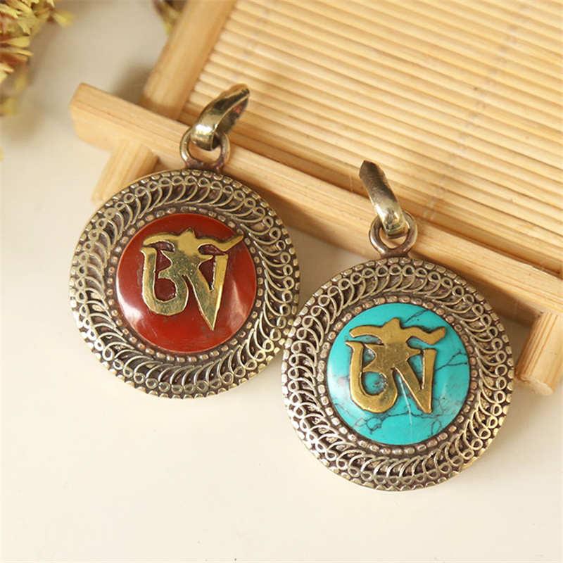 TGB111 Тибетский ОМ мантра молитвенный ящик медальон амулет белый металл медь инкрустация красочные каменные подвески