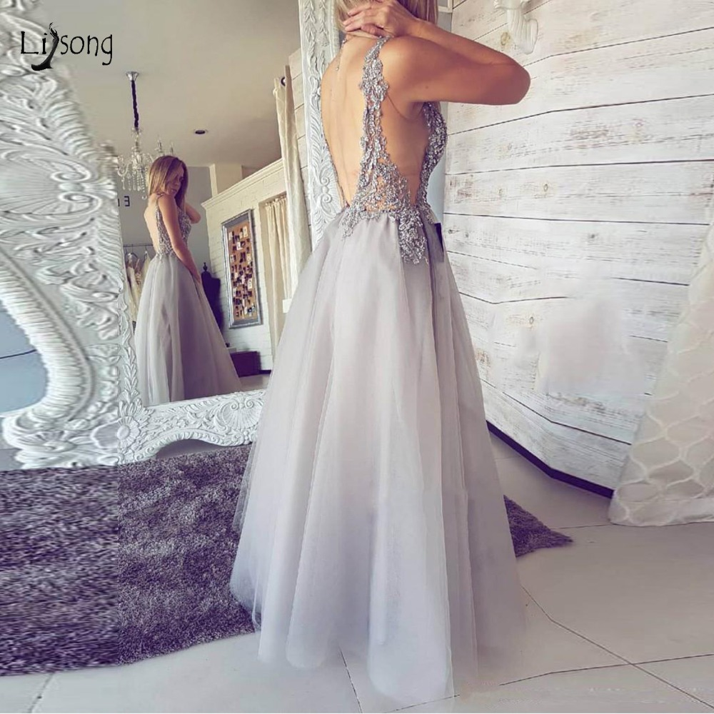 Sexy Silver Lace   Evening     Dresses   Semi Illuion Long A-line   Evening   Gowns High Side Split Backless Formal Party   Dresses   Plus Size