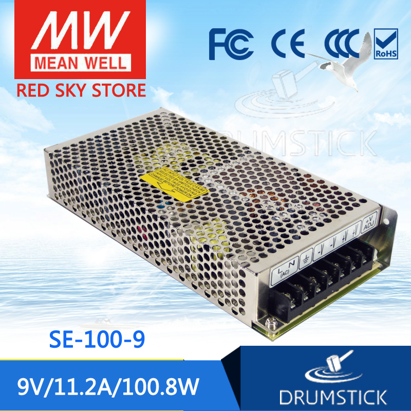 Advantages MEAN WELL original SE-100-9 9V 11.2A meanwell SE-100 9V 100.8W Single Output Switching Power Supply best selling mean well se 200 15 15v 14a meanwell se 200 15v 210w single output switching power supply