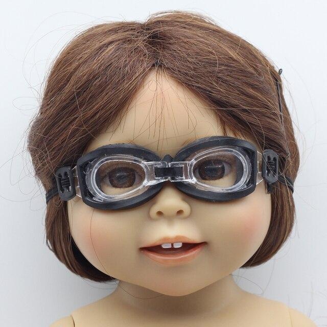 """Negro gafas de Natación Desgaste para 18 """"American Girl Doll fit 1/3 1/6 BJD muñecas Blythe"""