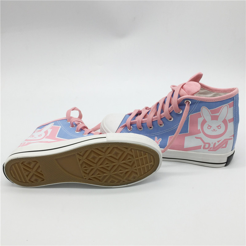 Game OW D.Va Cosplay  DVA DJ Tracer Mercy Dance Boots Flat Heel Canvas Casual Women vulcanize Shoes Sport Halloween Party Girls