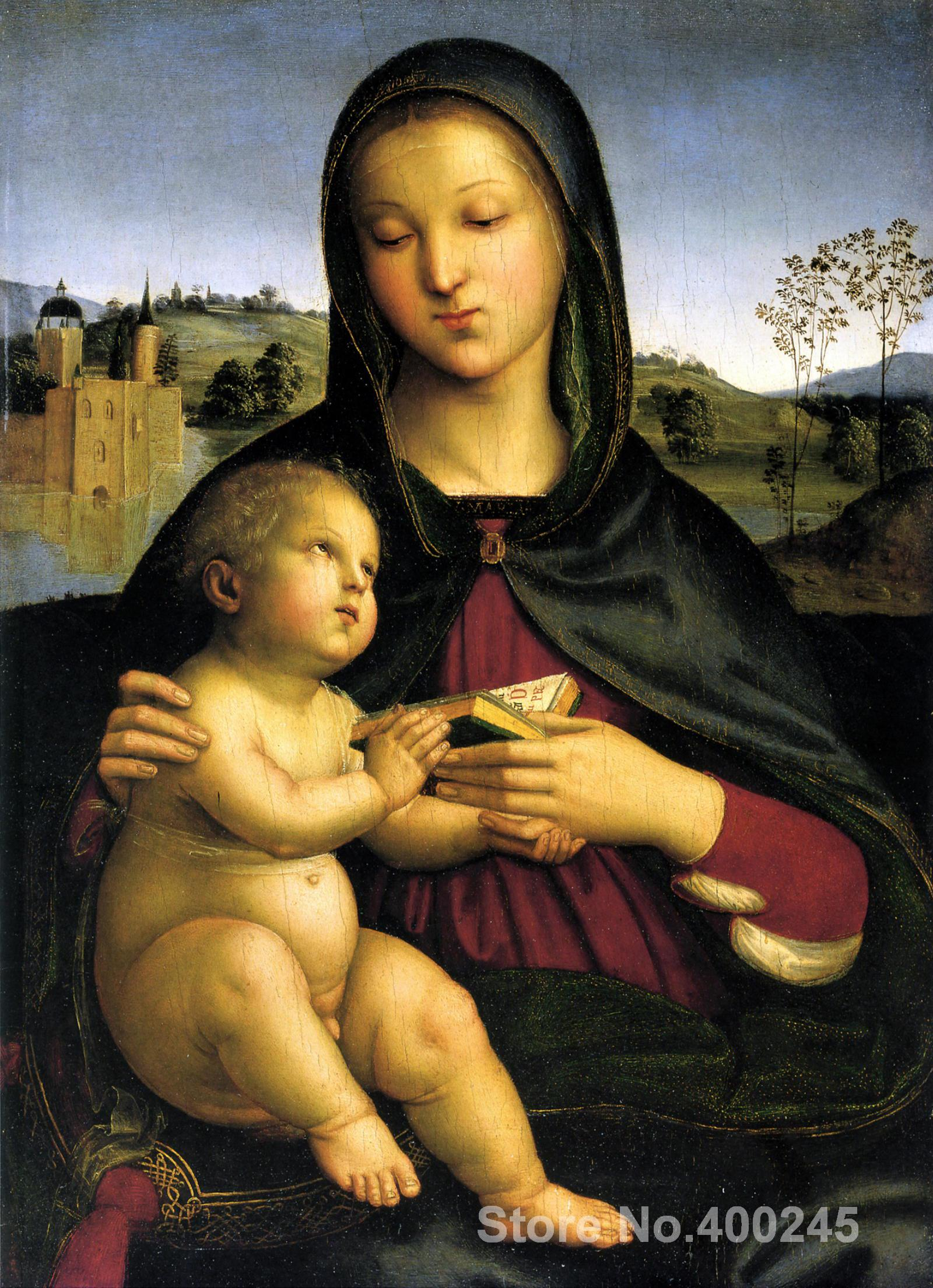 Christmas Gift art on Canvas Madonna and Child with the Book by Raphael sanzio Painting High Quality Handmade