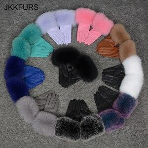 Image 1 - נשים של אמיתי עור כפפת החורף חם אמיתי כבש ושועל פרווה כפפות אופנה סגנון רך טבעי שועל פרווה S7200