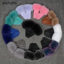 Gants en cuir véritable pour femmes, gants chauds, vraie peau de mouton et fourrure de renard, peluches naturelles, Style à la mode, S7200