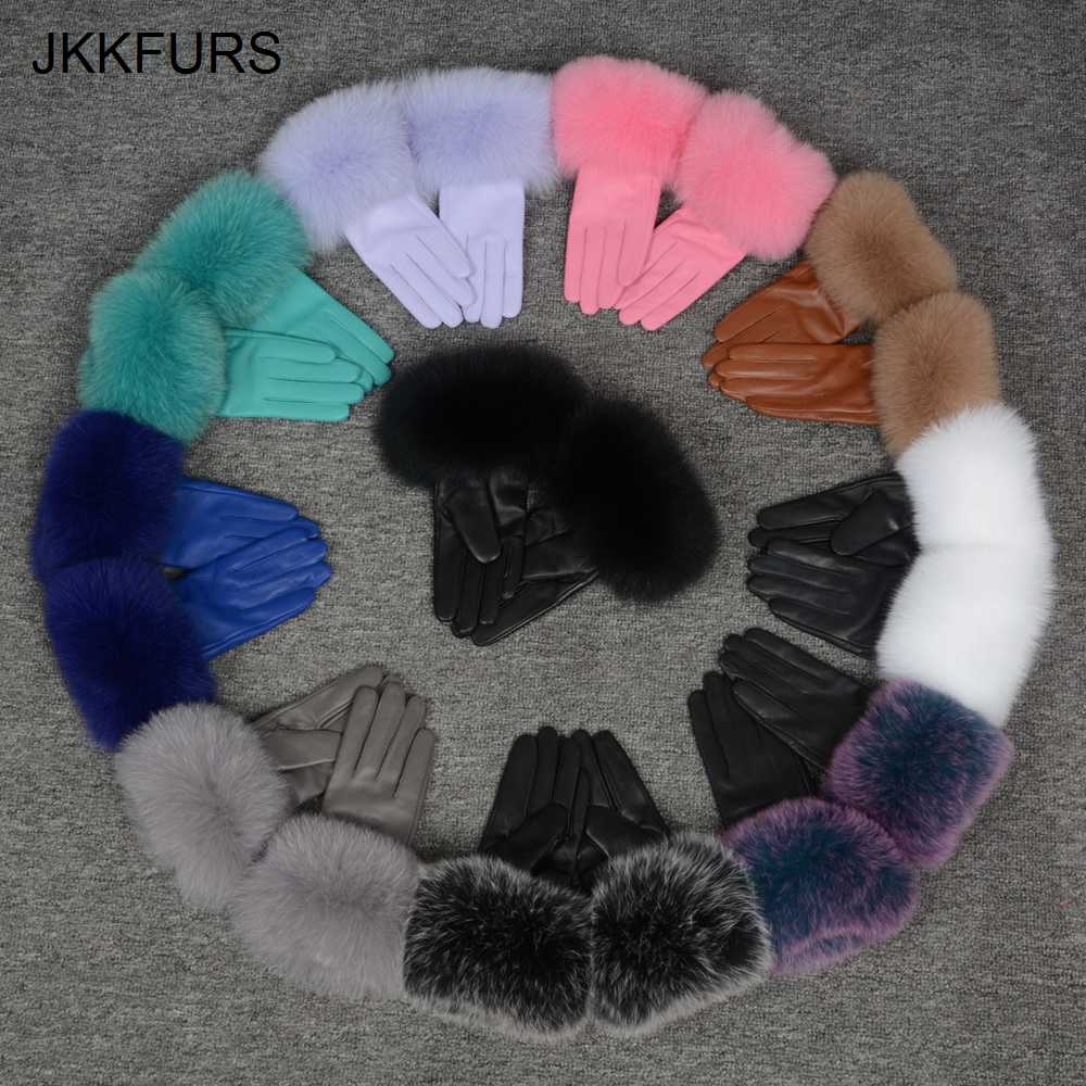 Women's Genuine Leather Glove Winter Warm Real Sheepskin & Fox Fur Gloves Fashion Style Natural Fluffy Fox Fur S7200