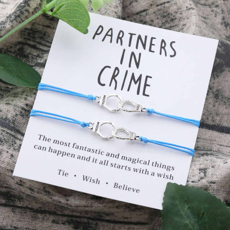 Partners In Crime Wish Bracelets Alloy Handcuffs Handmade Bracelet Friendship Bracelet Set Best Friend Gift Couple Bracelets