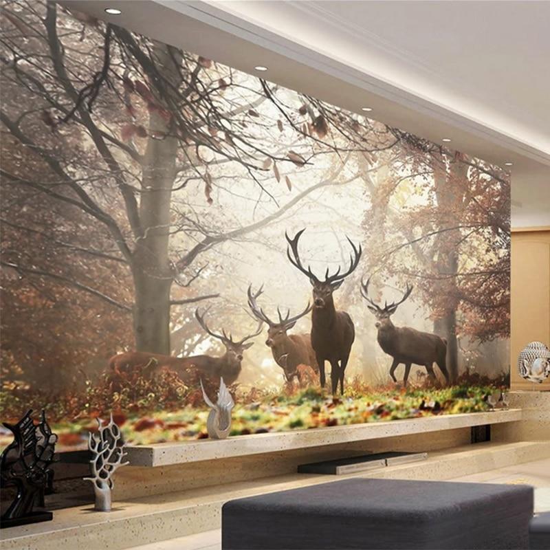 Photo Wallpaper 3D Forest Deer Animal Mural Living Room TV ...