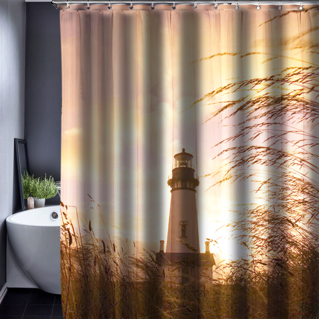 Navigation Lighthouse Polyester Customized Shower Curtain Bathroom  Accessories Waterproof Bathroom Fabric Shower Curtain