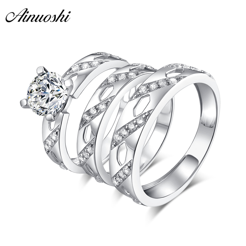 AINUOSHI 925 Sterling Silver Couple Wedding Engagement Round Cut Rings Sets Women Men Anniversary Lover Promise Ring Sets Gift men wedding band cz rings jewelry silver color anillos bague aneis ringen promise couple engagement rings for women