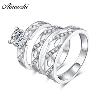 AINUOSHI 925 Sterling Silver Couple Wedding Engagement Round Cut Rings Sets Women Men Anniversary Lover Promise Ring Sets Gift