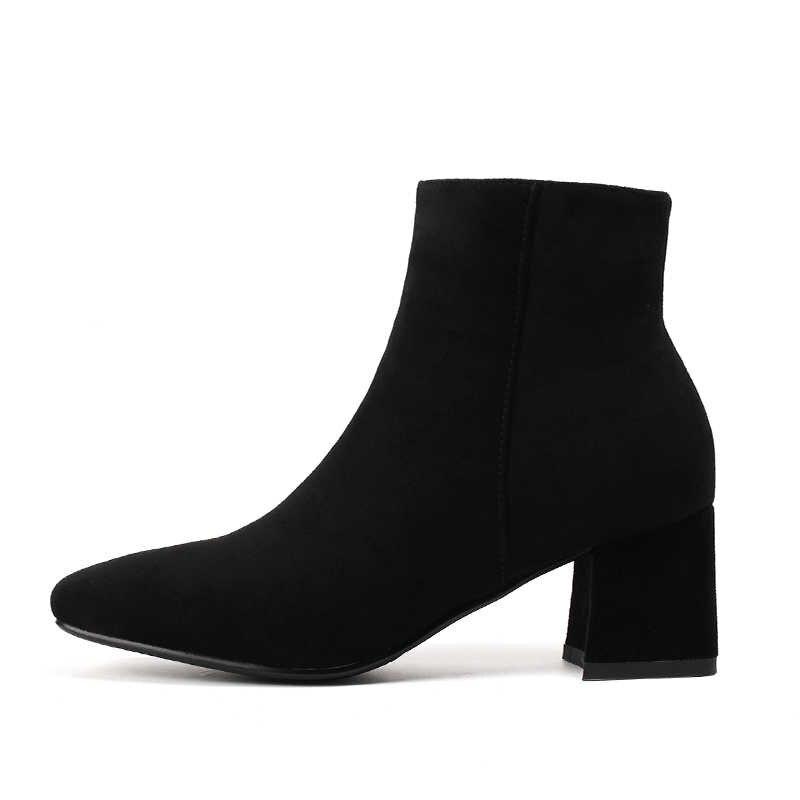 WETKISS Kış Yüksek Topuklu Kadın yarım çizmeler Zip Kare Ayak Ayakkabı Akın Kadın Çizme Moda Ofis Ayakkabı Kadınlar 2018 Siyah Yeni