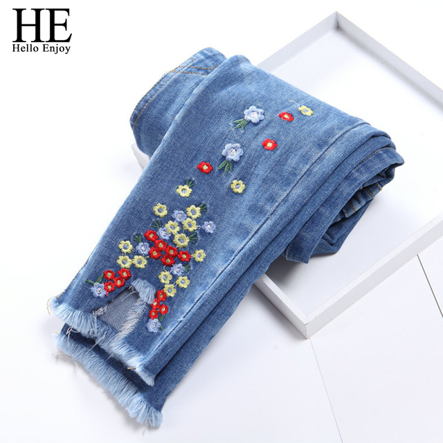 monroo Korea children Pretty embroidered flowers elastic waist little girls  jeans