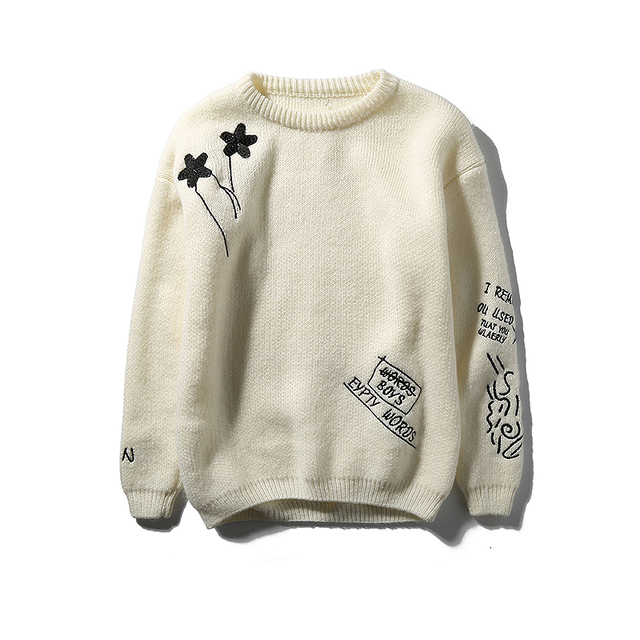 Fashion autumn winter o-neck sweaters mens sweaters casual  full sleeve clothes black white solid color loose sweaters tops m15