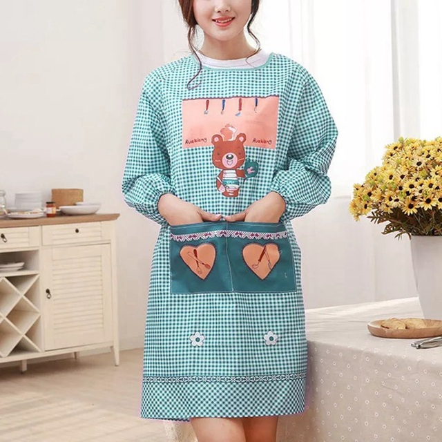 Korean Apron kitchen gowns long sleeved oil-proof Aprons  For Cooking Baking Restaurant Coffee Shop Aprons Kitchen Accessories