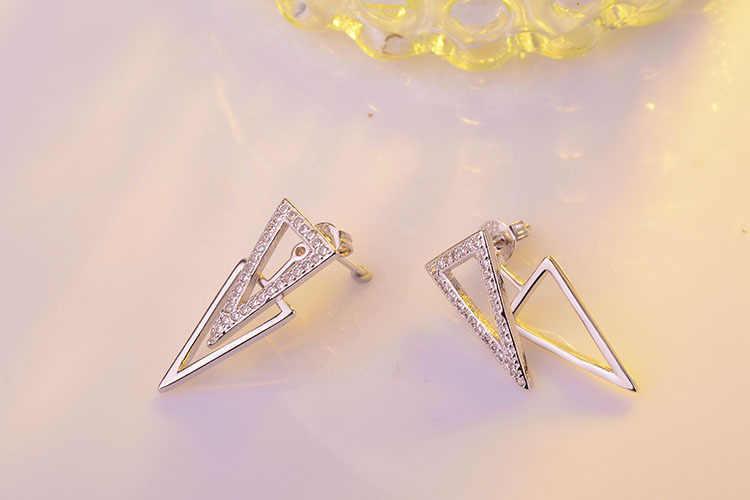 Yeni Moda 925 Ayar Gümüş Takı Mikro Cz Zirkonya Çift Üçgen Geometri sallanan küpe Kadınlar Için Oorbellen S-e284