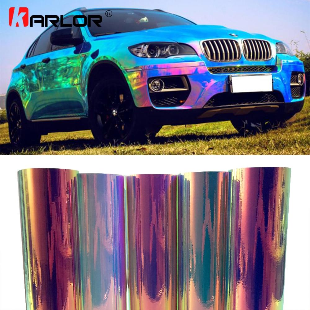цена Premium Rainbow Mirror Vinyl Film Holographic Film Rainbow Chrome Vinyl Motorcycle Automobiles Car Styling Stickers Accessories