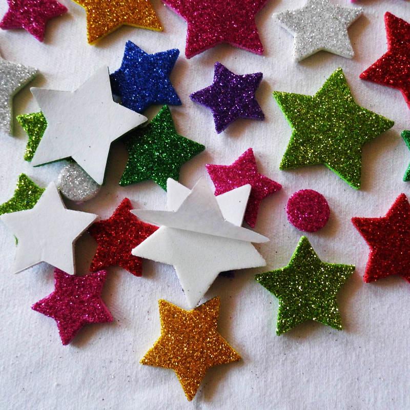 Foam Stickers Babykamer.45 Stks Partij Glitter Bloem Foam Stickers Babykamer Decoratie