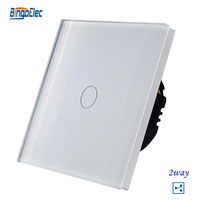 1gang 2way Stair Switch White Crystal Toughened Glass Panel Touch Sensor Switch EU UK Standard AC110