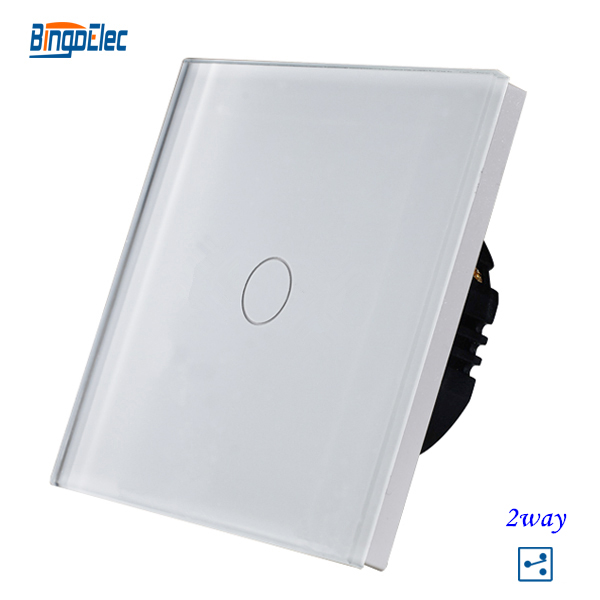 1gang 2way stair wall switch white crystal toughened glass touch 2way light switch EU UK standard
