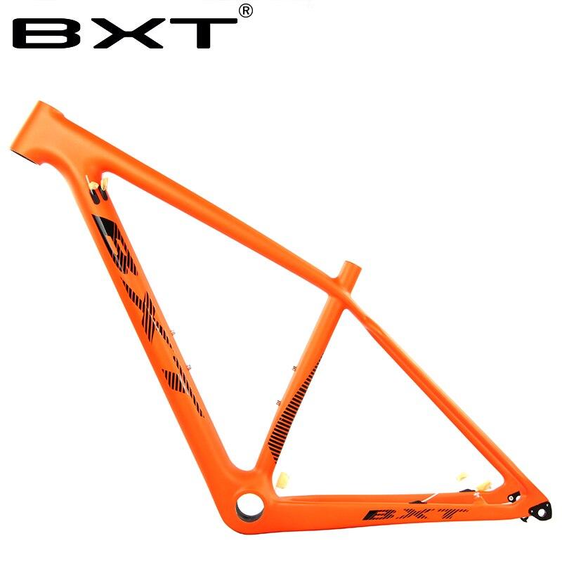 все цены на BXT carbon Frame 29er Chinese Carbon mtb Bicycle Frame T800 carbon bicicletas mountain bike orange frame carbone bicycle part онлайн