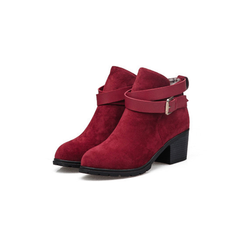 LOSLANDIFEN Autumn Winter Ankle Boots Suede Shoes For Women