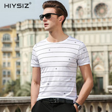 HIYSIZ New Men T-Shirts 2019 Soft Silk Streetwear Popular Striped Casual T Shirt O-Neck TShirts For Summer ST028