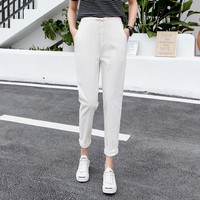 2019 Women's Casual Harem pants Spring Summer Ankle length Trousers Female Classic Elastic Waist Black Green Beige Plus Size 5XL