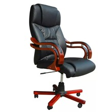 VidaXL Black Leather Office Chair Computer Household Work Luxury Office Synthetic Leather Lift Armchair With 5 Wheels