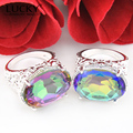 Lucky Mall Best Seller Jewelry Set Rainbow Fire Mystic Synthetic Topaz Set Charm Couple Wedding Party Bijoux