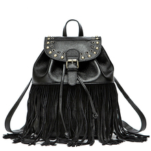 Women Edgy Fringed Backpack 2016 Fashion New Tassel Bag Genuine Leather Packsack Rivet Belt Buckle Daypack Lady Cowhide Bag