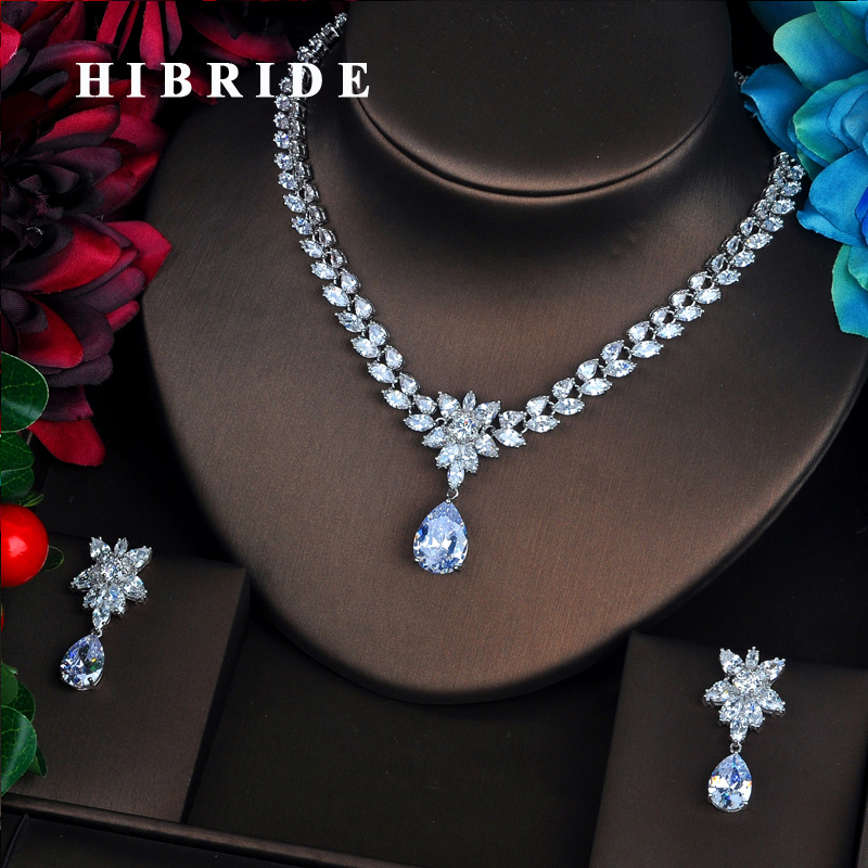 HIBRIDE Simple Tear Drop 3A Cubic Zircoina Jewelry Sets for Wedding Party Top Quanlity CZ Jewelry Set for Woman Gift N-495HIBRIDE Simple Tear Drop 3A Cubic Zircoina Jewelry Sets for Wedding Party Top Quanlity CZ Jewelry Set for Woman Gift N-495