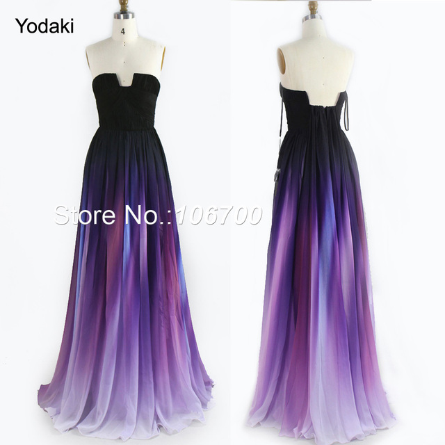Real Photo New Gradient Ombre Print Chiffon Prom Dresses Pleat ...