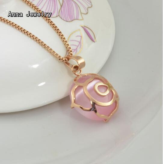 Romantique Designer Opale Collier Pendentif En Or Rose Couleur Rose