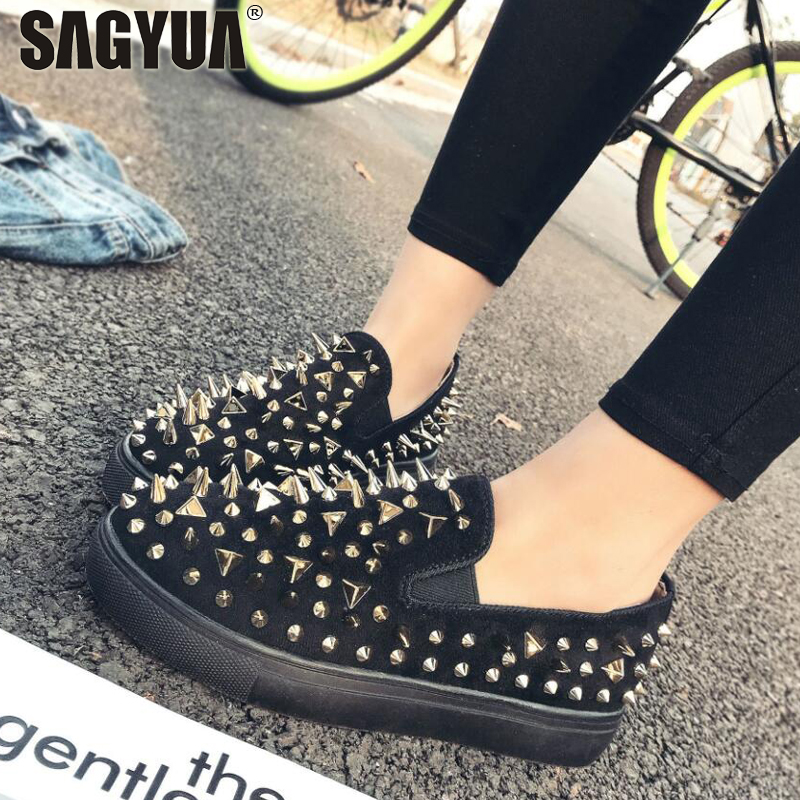 Ladies Metal Rivets Women Femininity Mujer Casual Shallow Flat Slip On Comfort Loafers S ...