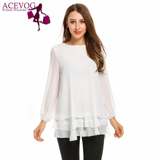 fe1d5bd75a4 ACEVOG Spring Women Casual Long Sleeve Double Layer Ruffles Chiffon Casual  Shirt Solid Color Loose Blouse Back Zip White Pink