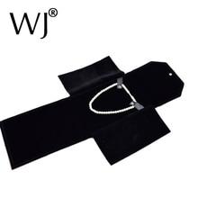 Black Velvet Travel Jewelry Case Roll Bag Organizer for Pear Necklace Chain Long Bracelet Displaying Holder Collier Storage Case