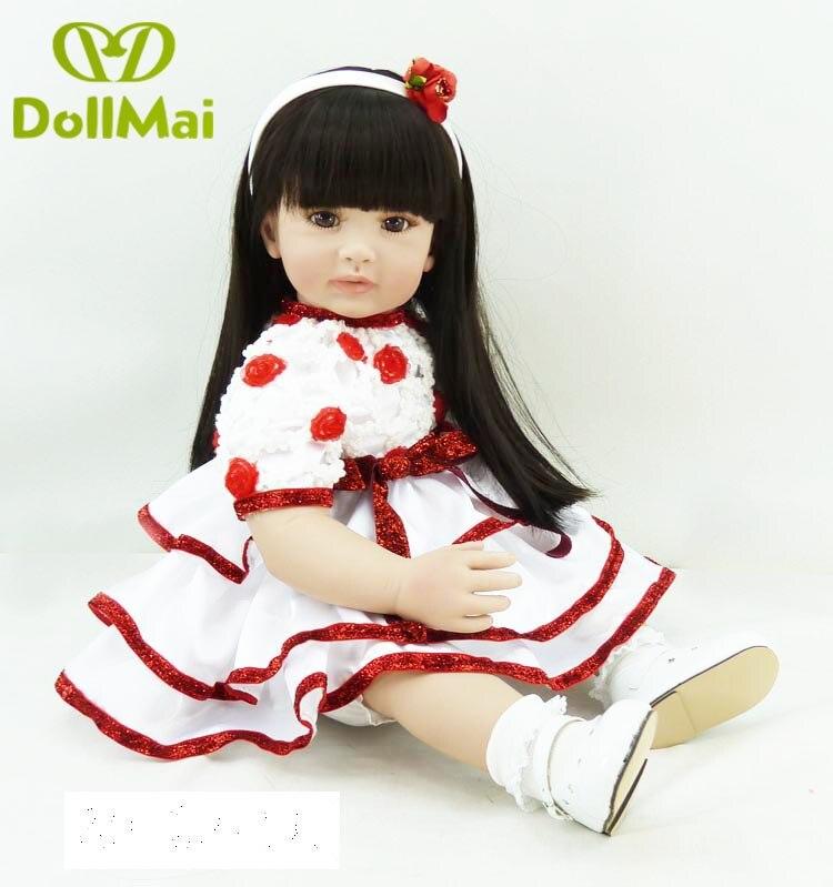 24/ 60 cm Handmade Soft Cloth Body Doll Reborn Lifelike Toddler Girl Silicone Doll Toys for Children Birthday Xmas Gift24/ 60 cm Handmade Soft Cloth Body Doll Reborn Lifelike Toddler Girl Silicone Doll Toys for Children Birthday Xmas Gift